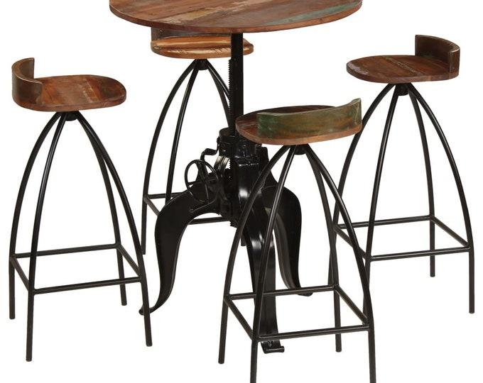 Industrial Style Bar stools & Adjustable Round Table Sets in Solid Reclaimed Wood