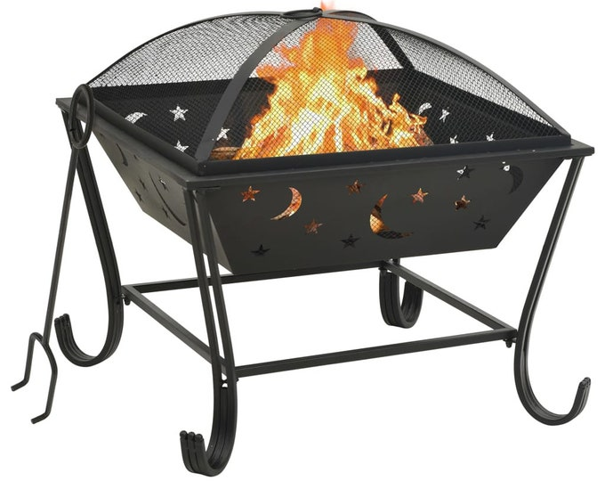 Square Fire Pit with Poker Moon & Stars Design 62 cm Steel