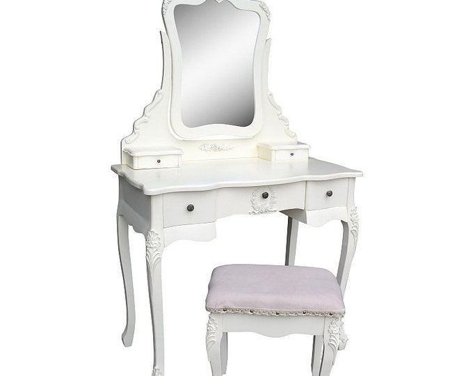 Shabby Chic French Style Cream Dressing Table with Mirror & Stool