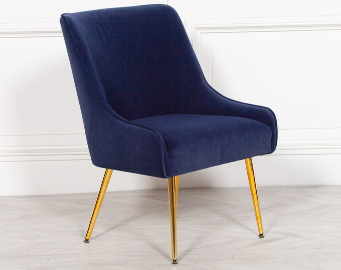 Art Deco Style Blue Velvet Upholstered Occasional / Dining Chair