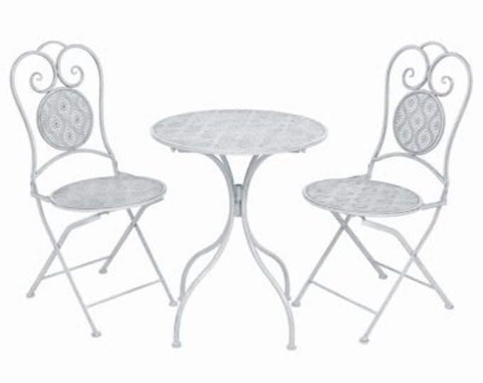 Vintage French style 3 Piece Bistro Set in Coated Steel - Greyish White
