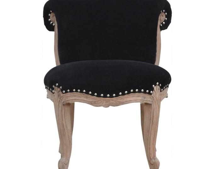 Classic French Style Black Velvet Studded Upholstered  Chair