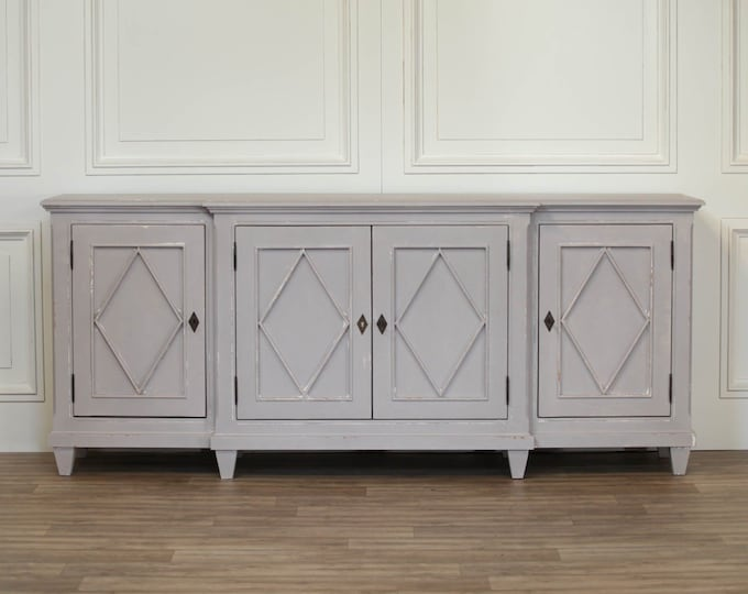 Farmhouse Classical Style Large 206 cm French Grey Mahogany Sideboard