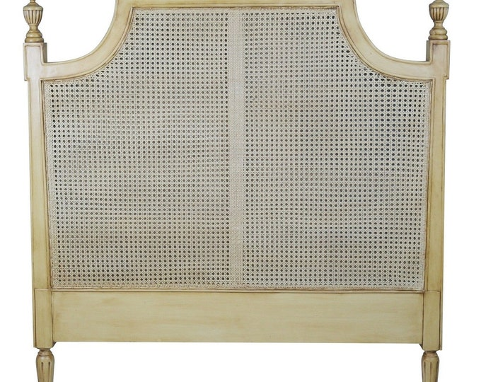 French  Style Mahogany & Rattan 5 ft King Size Headboard