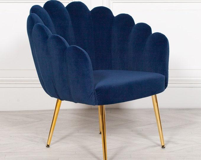 Shell Shape Art Deco Style Blue Velvet Upholstered Scalloped Arm Chair Dining