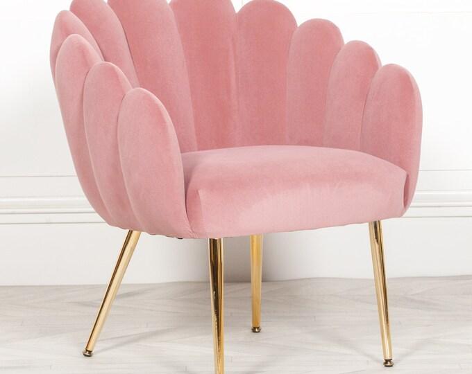 Shell Shape Art Deco Style Pink Velvet Upholstered Scalloped Arm Chair Dining
