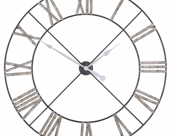 Rustic Extra Large 110 cm Distressed Grey Metal Wall Clock