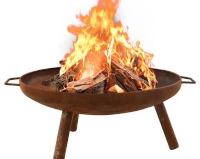Fire Pit Bowl on Legs Ø 81 cm Rust Steel