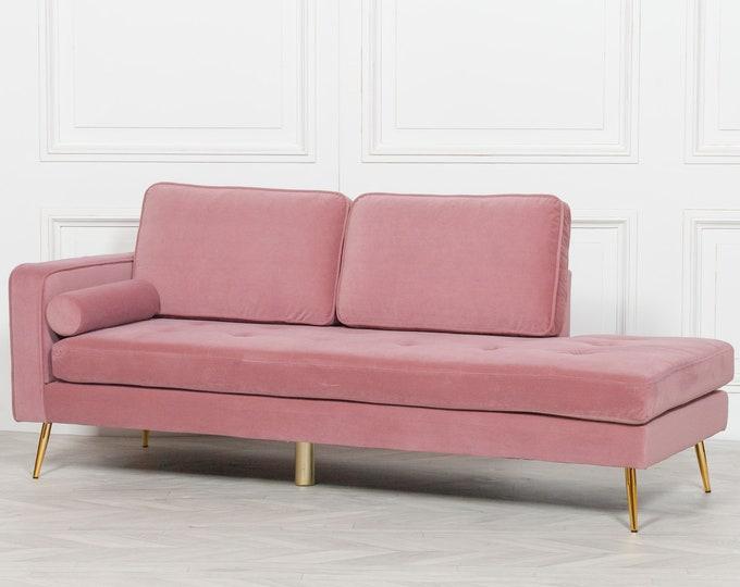 Art Deco Style Pink Velvet Upholstered Chaise Lounge Sofa