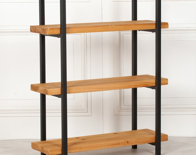 Rustic Industrial Style 3 Tier Bookcase Shelving