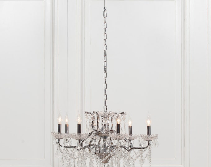 Antique French Style Chrome 8 Branch Chandelier