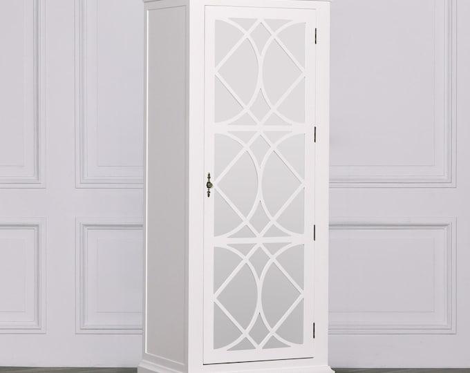 Colonial Style White single Mirror Door Armoire Cupboard