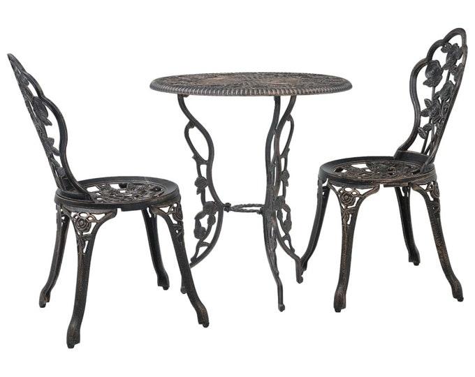Vintage French style 3 Piece Bistro Set in Cast Aluminium - Bronze
