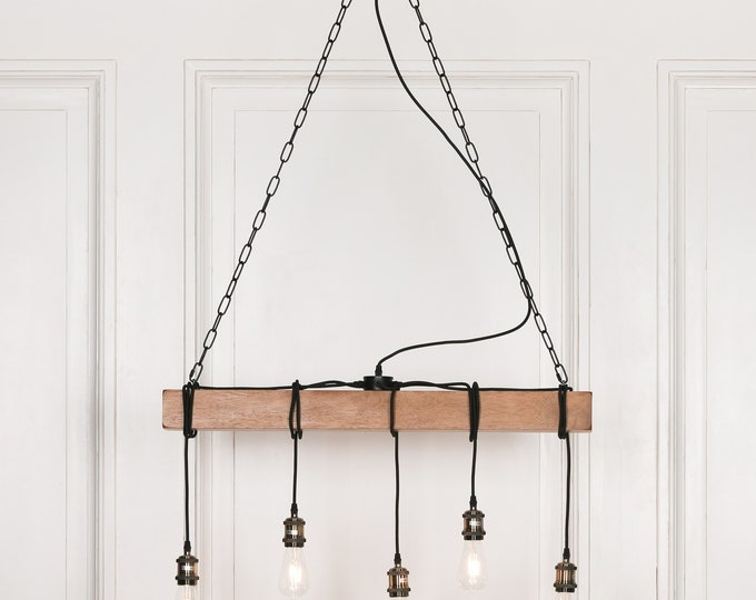 Industrial Style Wooden 5 Branch Ceiling Light