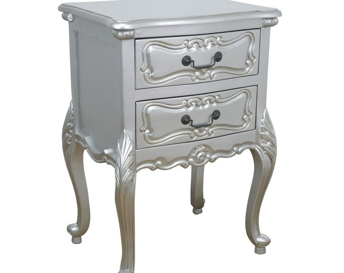 Shabby Chic French Rococo Style Silver Painted 2 Drawer Bedside Table