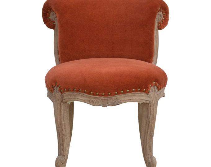 Classic French Style Brick Red/Terracotta Velvet Studded Upholstered  Chair