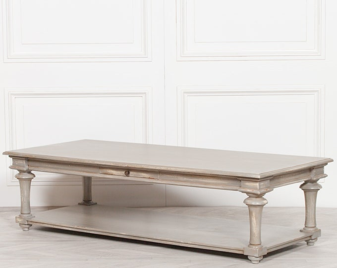 Large Classic French Style Distressed Grey mahogany Coffee Table