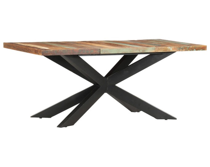 Industrial X Frame Style Dining 180 cm Table in Solid Reclaimed Wood - Multicolour