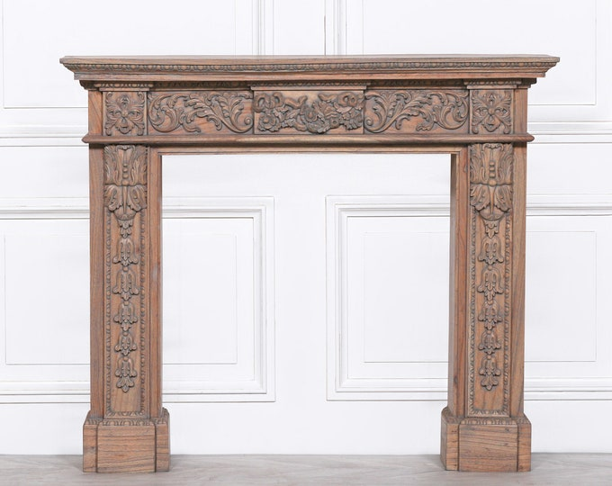 Wooden Carved Distressed White Cedar Fire Surround