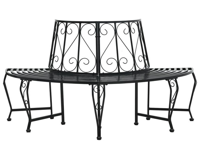Vintage Style half Round Tree Bench in Coated Steel