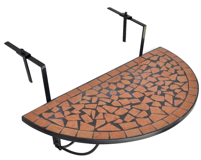 Vintage style Hanging Balcony Table Terracotta Mosaic