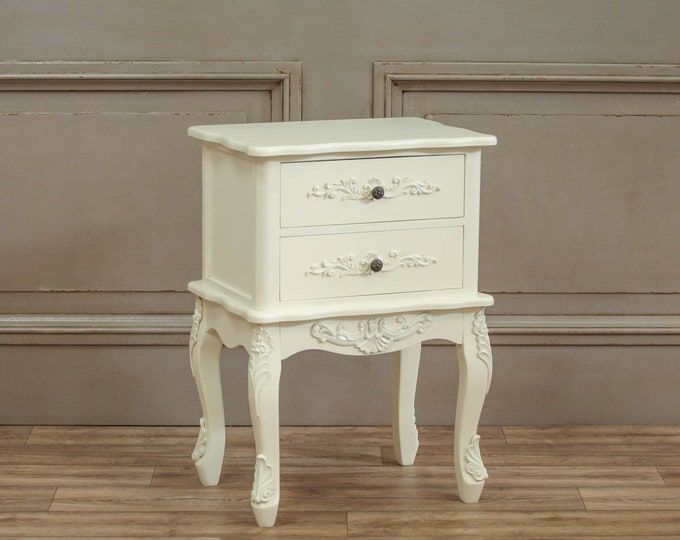 Shabby Chic French Chateau Style Cream Painted 2 Drawer Bedside Table