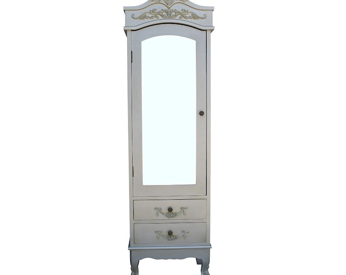 Shabby Chic Rococo Style French Silver single Half Mirror Door 2 Drawer Armoire