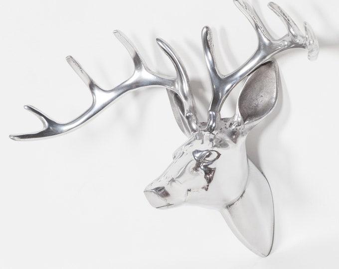 Shabby Chic Style Aluminium Stags Head Wall Decoration