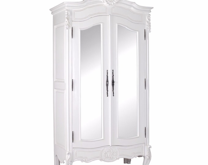 Antique French Style White Full Mirror Door Armoire Wardrobe Hand carved Detail