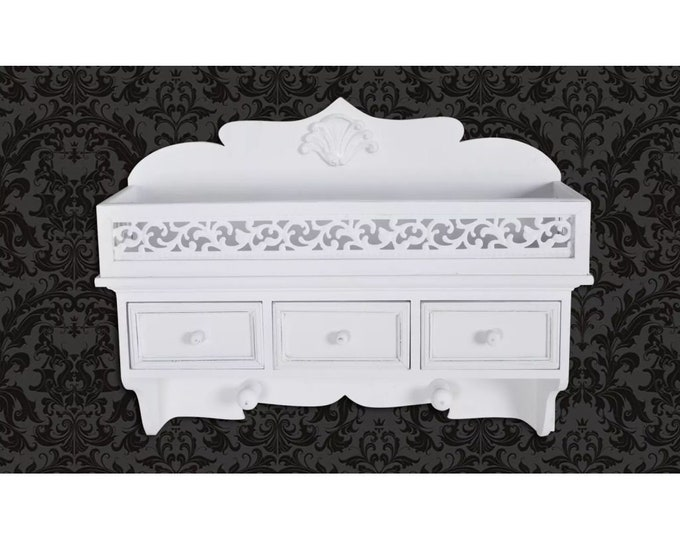 Shabby Chic Vintage Style Wall Shelf with 3 Drawers & 2 Hooks