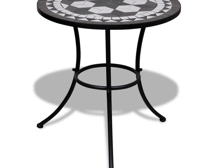 Vintage style Bistro Table Black and White 60 cm Mosaic