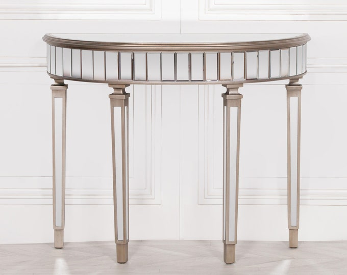 Venetian Style Champagne Silver Mirrored Half Moon Console side Table