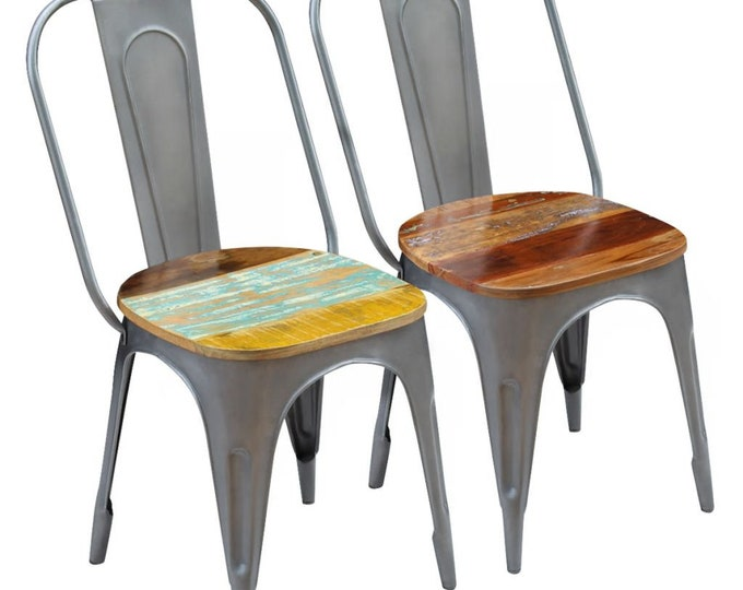 Industrial Style Cafe Dining Chairs in Reclaimed Wood - Multicolour