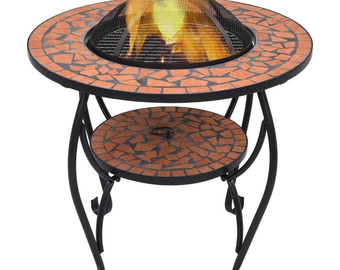 Mosaic 68cm Fire Pit Table Ceramic & Iron - Colour Choice