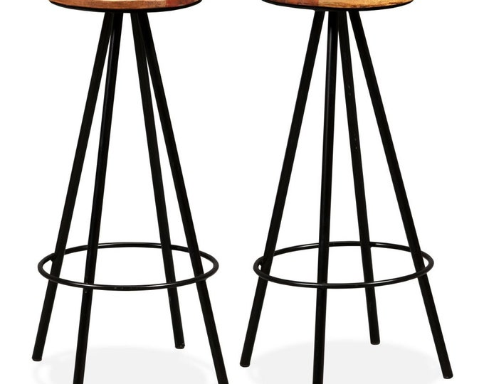 Industrial Style 2 or 4 Piece Bar Stool Set from Solid Reclaimed Part Painted Wood