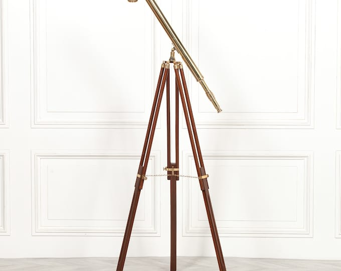 Antique Style Brass Telescope on Wooden Stand