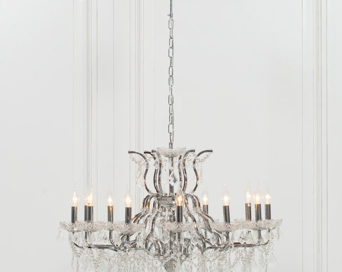 Antique French Style Antiqued Chrome 12 Branch Chandelier
