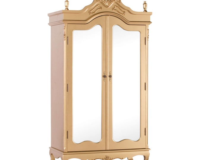 Antique French Style Gold Full Mirror Door Armoire Wardrobe with Finials & Moldings
