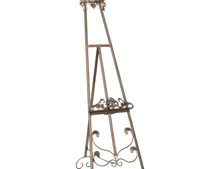 French Shabby Chic Style Antiqued Metal Easel  - Gold