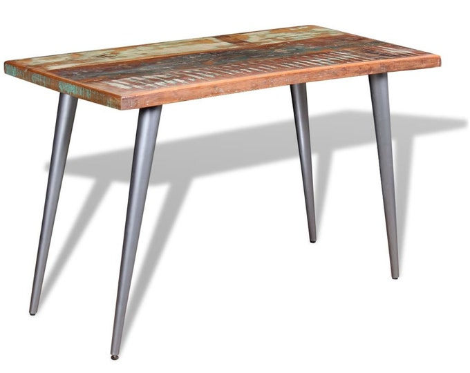 Industrial Retro 60s Style Dining 120 cm Table in Solid Reclaimed Wood - Multicolour