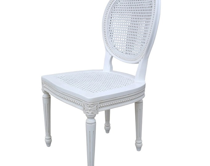 French Chateau Style White Rattan Dining Chair