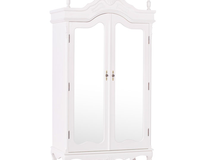Antique French Style Cream Full Mirror Door Armoire Wardrobe with Finials & Moldings