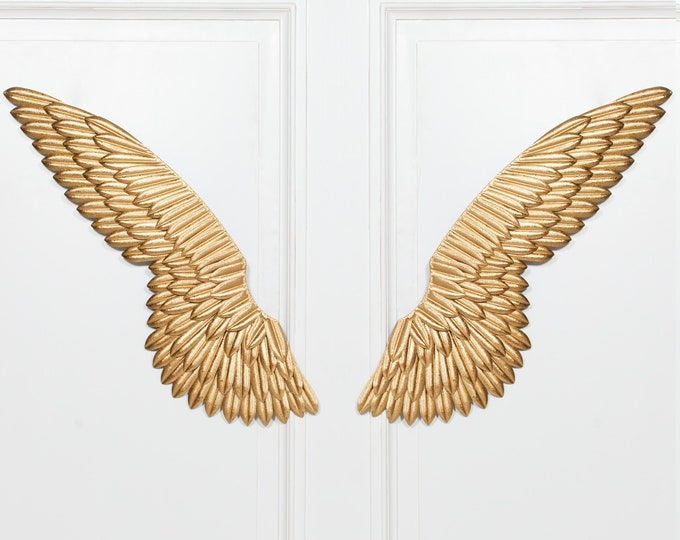 Shabby Chic Large Gold Colour Metal Angel Wings Wall decor