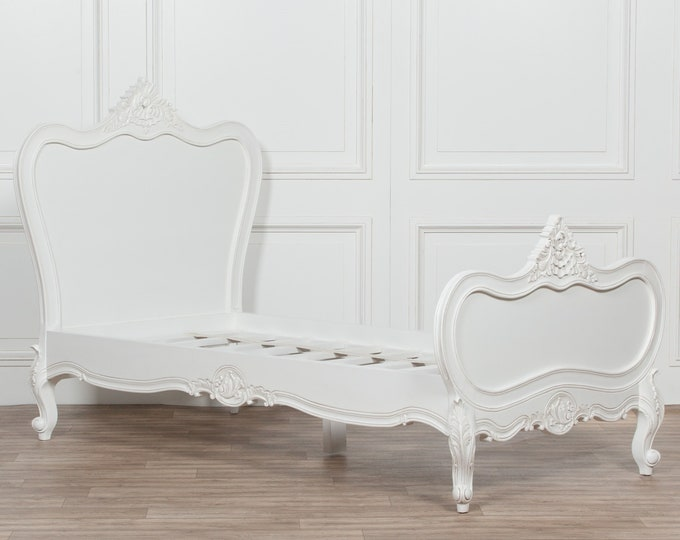 French Chateau Style 3 ft Single size Solid Wooden Mahogany White Painted Bed