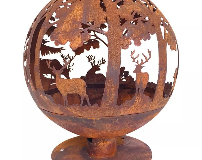 Beautiful Oxidised Metal Fire Pit with Laser Cut Deer & Trees