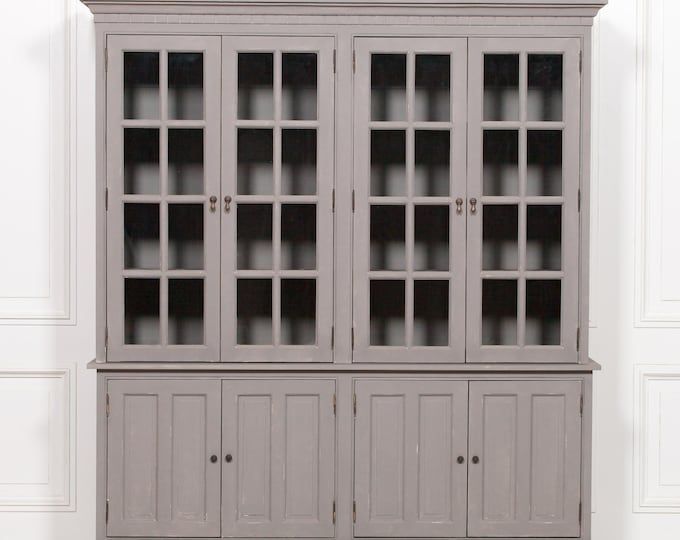 Stunning French Farmhouse Style Grey Chalk Painted Mahogany Dresser Cabinet
