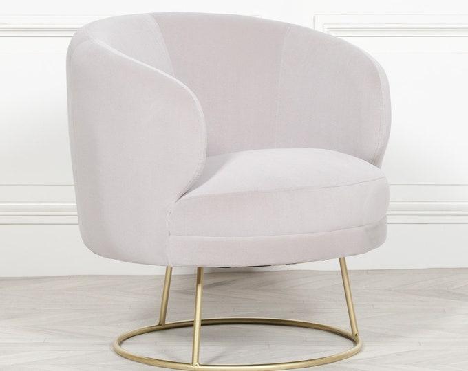 Tub Shape Art Deco Style Grey Velvet Upholstered Circular Arm Chair Dining
