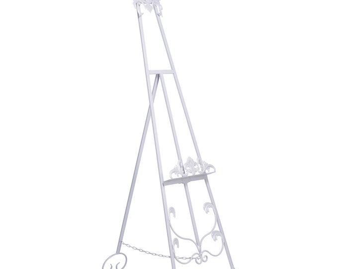 French Shabby Chic Style Antiqued Metal Easel  - White