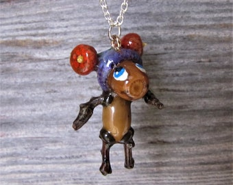 Fun Acorn Girl With Two Bobbles On Her Hat Necklace Is Created With Real Acorns And Twigs For Unique Gift Giving Only At JonnyBsArt