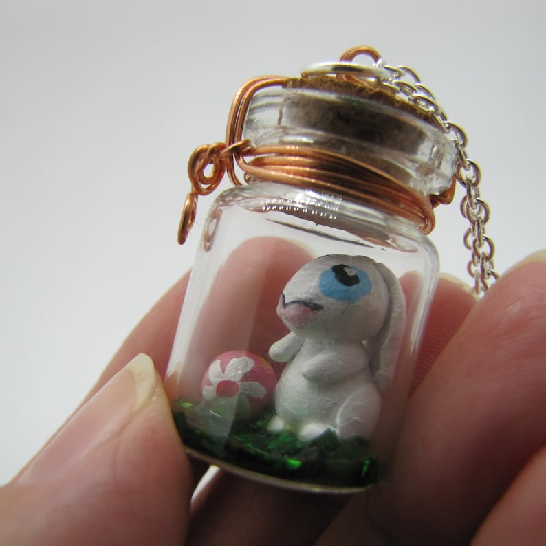 Bunny Terrarium Necklace With A White Bunny And Painted Easter Eggs Inside Is A One Of a Kind Creation From JonnyBsArt